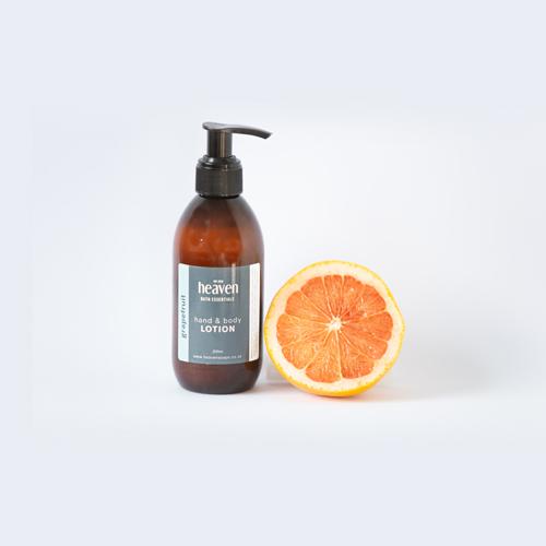 Hand & Body lotion 200 ml amber bottle with dispenser (rose geranium or grapefruit)